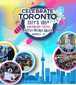 Celebrate Toronto artwork. City scape in background. colourful circles and splashed in foreground.