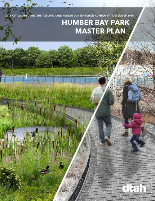 Front cover of the 2019 Humber Bay Park Master Plan depicting a couple with a small child walking along a boardwalk through a marsh area in both Summer and Winter