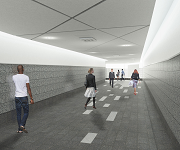 Architect's drawing of people walking through an underground tunnel.