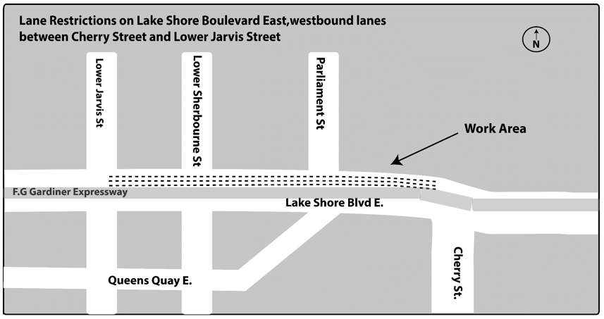 Map details work zone for access panel installation - Westbound Lake Shore Boulevard East between Cherry Street to Jarvis Street will have intermittent rolling overnight lane closures.