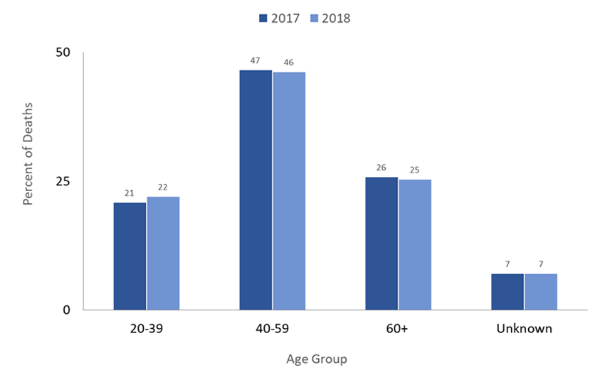 Graph Percent of Deaths of People Experiencing Homelessness by Age Group