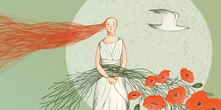 Photo info: Wedding At Aulis. Illustration - green background, woman with long hair. flowers and bird.