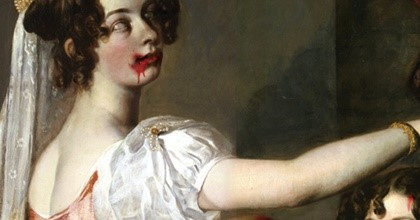 Womnn in Victorian dress, blood on mouth. hand outreached