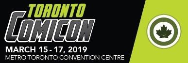 Artwork banner. Black and green, text. Toronto Comicon.