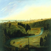 A painting of a park overlooking the city in the distant background.