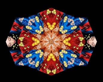blue, red and yellow repeating graphic. Faces and shoes..