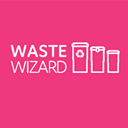 A fuschia coloured square with the words Waste Wizard and three types of bins.