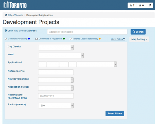 Screen capture showing the various search options available to limit search results for Development Applications.