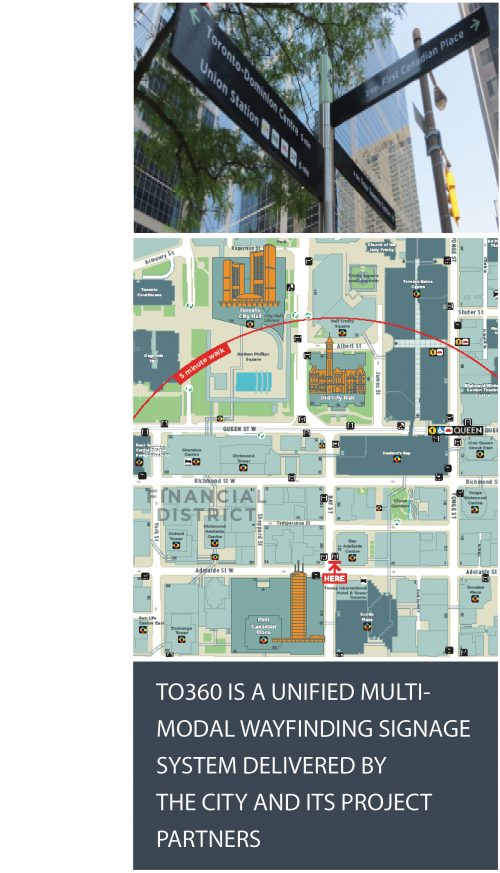 Image of wayfinding sign on the corner of an intersection and a map of the wayfinding system. TO360 is unified multi-modal wayfinding signage system delivered by the city and its project partners.