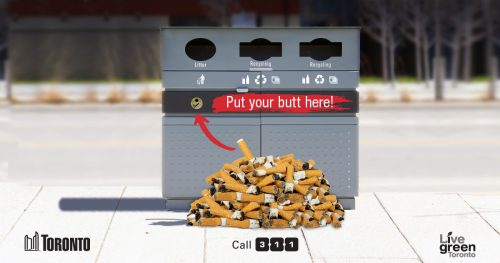 Street litter bin showing cigarette butt receptacle