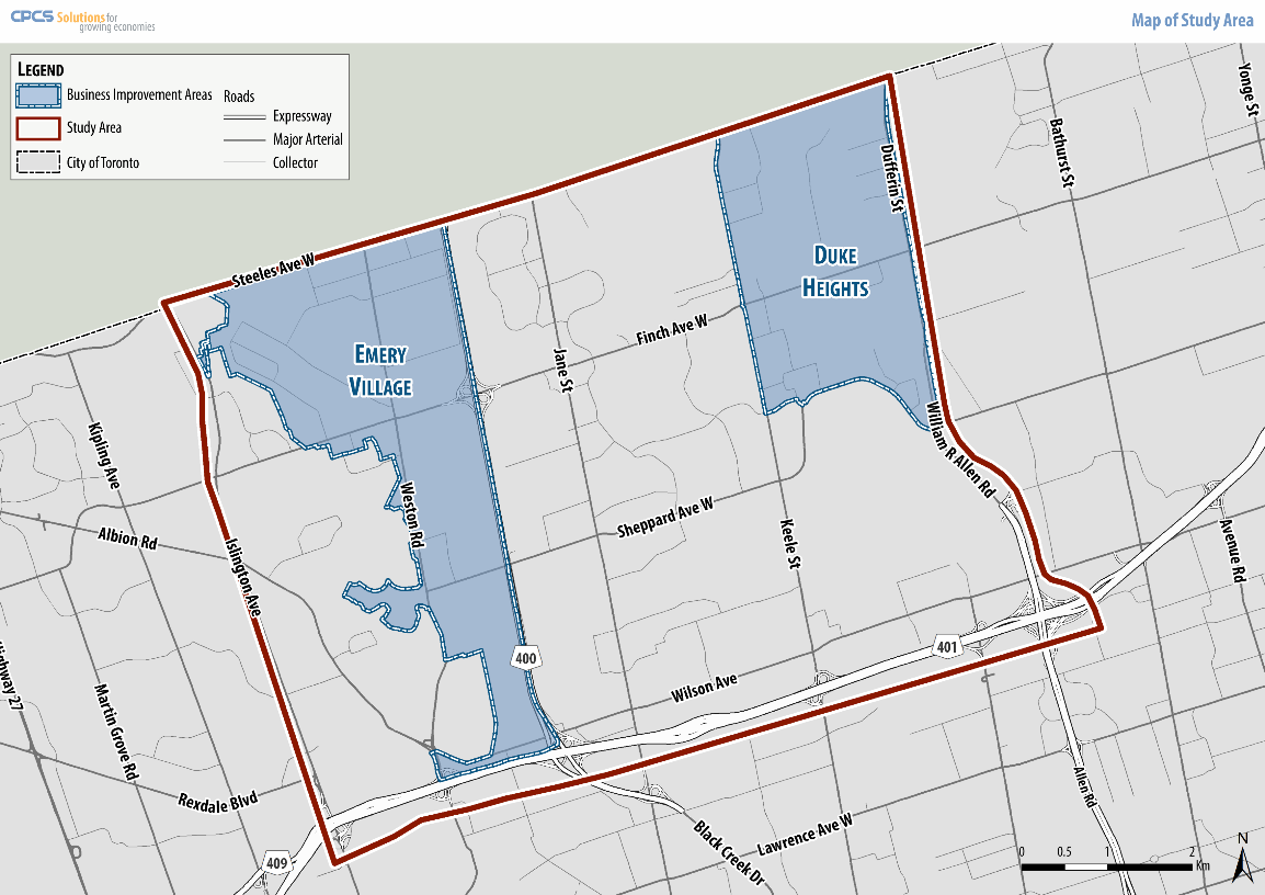 study area is bounded by Dufferin Street and Islington Avenue (east-west), and Highways 407 and 401 (north-south). This includes the Emery Village and Duke Heights Business Improvement Areas (BIAs).