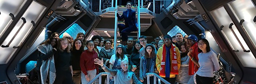 Students on set tour of The Expanse