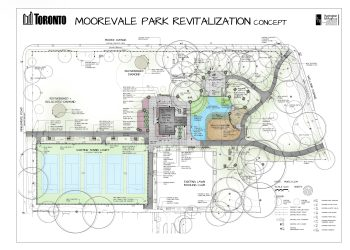 This document shows a top-down view of the construction plans for Moorevale Park. If you need this information in an alternate format, please contact Martin Balgavy at Martin.Balgavy@toronto.ca or 416-392-8409