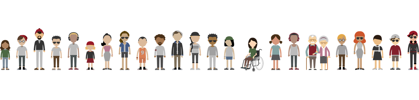 Graphic of a diverse group of people standing side by side