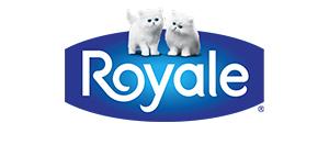 Royale logo - white kittens on blue background