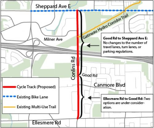Proposed track stretches from Ellesmere Rd to Sheppard Ave E where it connects to the Sheppard Ave Bike Lane and the Gatineau Hydro Corridor multi-use trail