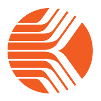 Kronos Icon - Circlular icon, orange in colour consisting six parallel lines extending from the right and diverging at the centre with half extending up and the other half down