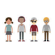 A graphic of young people of various ethnicities.