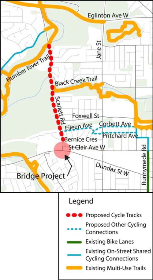 Map of bike lane (cycle track) along Scarlett Road from the Humber River to just north St. Clair Avenue at Bernice Crescent. Options for cycling connections to Scarlett Road being considered for the future include Eileen Avenue to Pritchard Avenue or Eileen Avenue to Corbett Avenue.