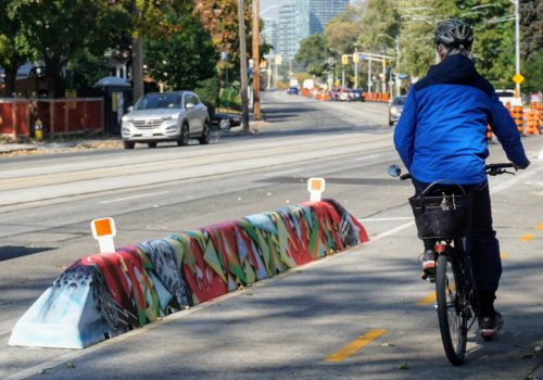 Example of a painted cycle track barrier on Lake Shore Boulevard West