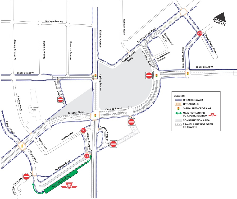 Map of open and closed sidewalks