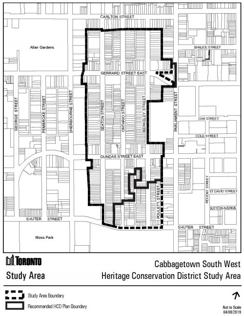 This map shows the proposed boundary of the Cabbagetown Southwest HCD