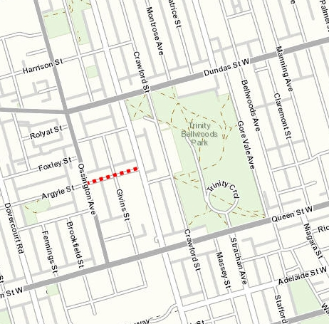 Argyle Bikeway project area from Ossington Avenue to Shaw Street