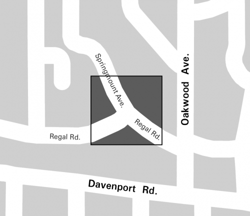 Map of study area highlighting Regal Road and Springmount intersection, along with nearby main streets (Davenport Road and Oakwood Avenue).