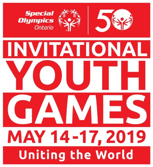 Youth games logo. Red and white.