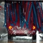 Car going through a car wash.