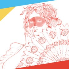 illustration - woman in mask, behind fan. Red on white background.