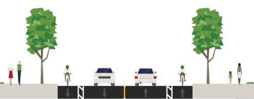 1 lane of traffic and bike lane in each direction
