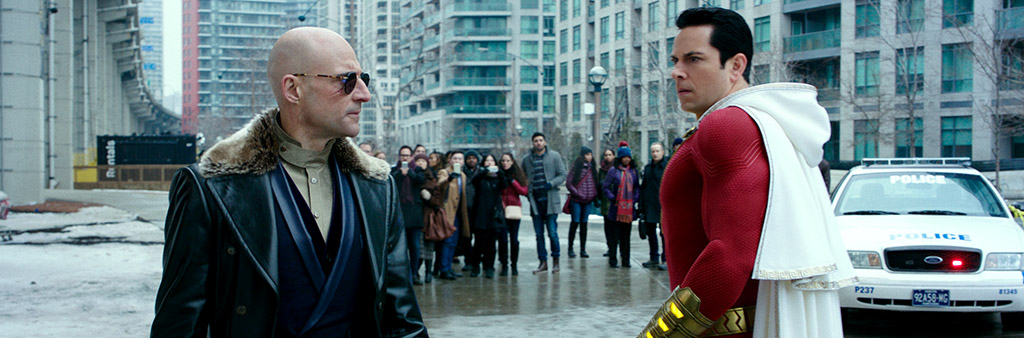 Actors Zachary Levi and Mark Strong in Shazam! scene.