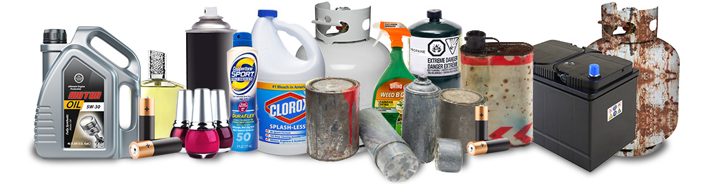 Collage of household hazardous waste items listed below.