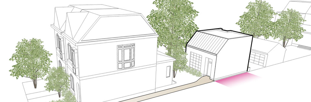 3D sketch of homes along a laneway, with trees between the homes.