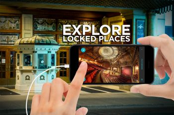 """A person's hand tapping on a mobile screen. The title """"Explore Locked Places"""" is above the mobile phone."""