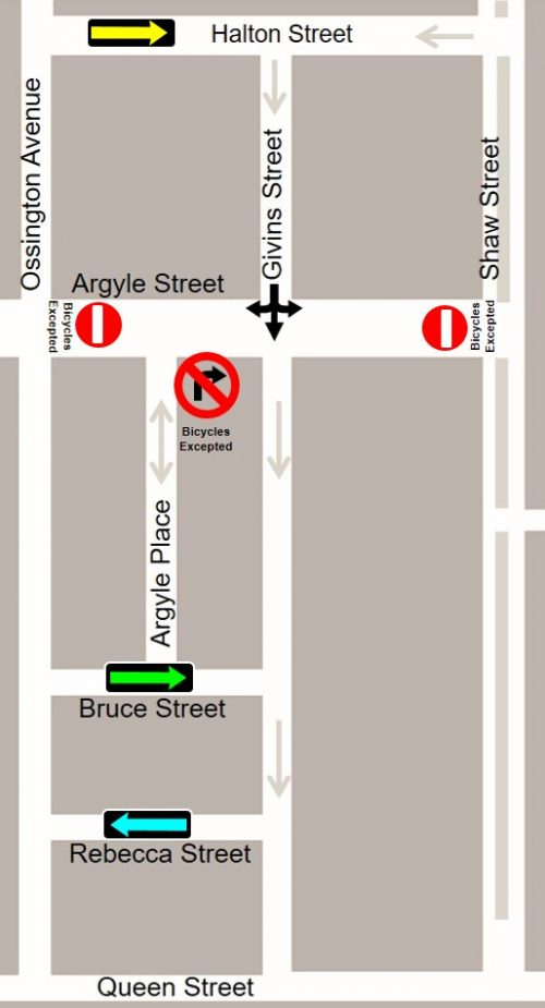 Street reversals and turning restrictions to facilitate the Argyle Bikeway proposal and continue to provide motor vehicle access into and out of the neighbourhood