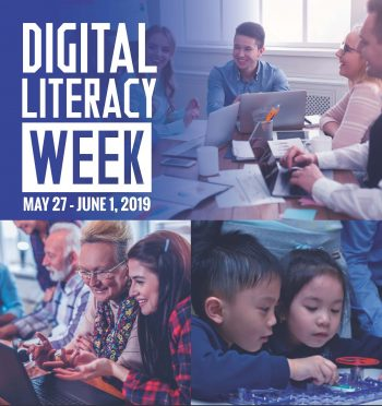 Digital Literacy Week, May 27 to June 1, 2019. Kids, seniors and young people learning and working on computers.