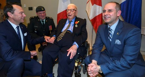 This is an image of William George Carpenter, a Canadian Artillery veteran from the Second World War and Kipling Acres resident who was invested as a knight of the French National Order of the Legion of Honour.