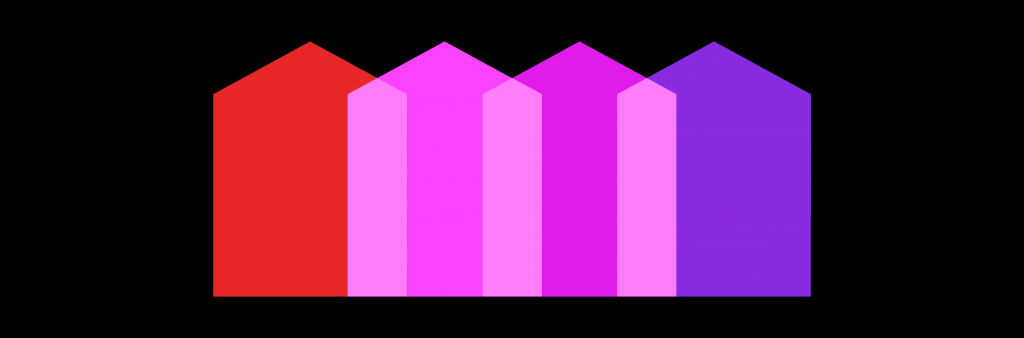 Inclusionary Zoning banner: Overlapping red, pink and purple house icons over a solid black background