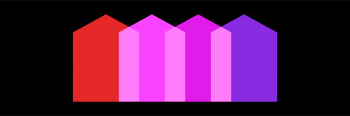 Inclusionary Zoning Graphic: Overlapping red, pink and purple house icons over a solid black background