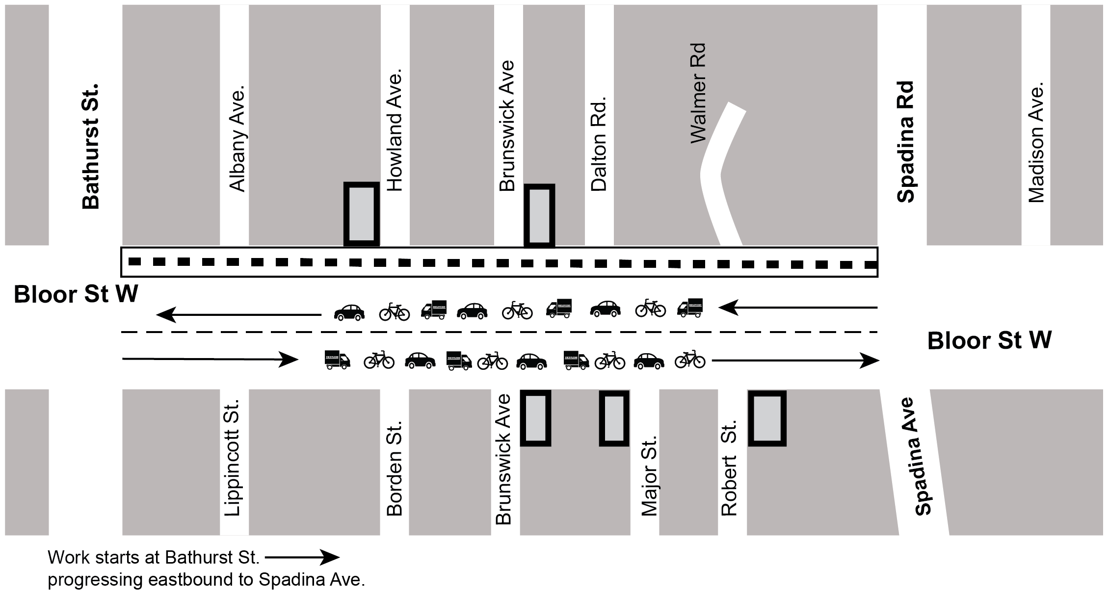 Map of construction area indicating direction of traffic along Bloor St West during the construction