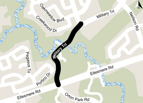 Map showing the extents of the construction project on Military Trail from Highcastle Road to Ellesmere Road