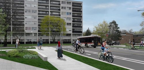 Rendering of potential improvement at Deauville Lane and Grenoble Drive