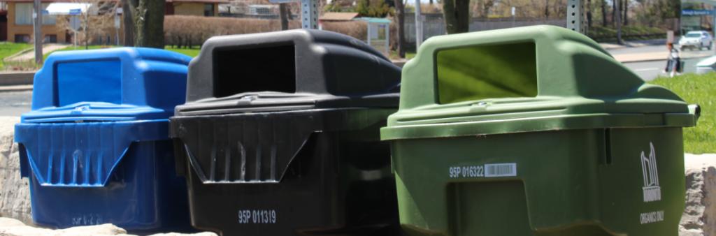 Park Green Bin, Blue Bin and Garbage Bin