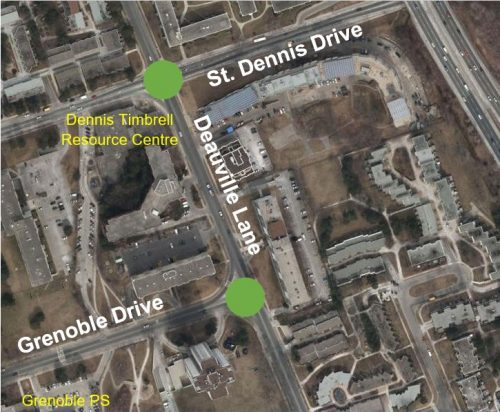 Map showing intersection of Deauville Lane at St. Dennis Drive and Grenoble Drive