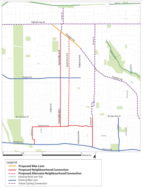 Map of Oakwood Neighbourhood cycling routes, showing proposed bike lanes on Vaughan Road, and proposed neighbourhood connections on Northcliffe Boulevard, Glenholme Avenue and Rosemount Avenue.