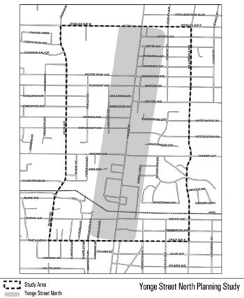 Map of Yonge St North Planning Study