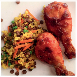 Picture of Sweet West Indian Curry Drumsticks with Lentil & Rice Pilaf