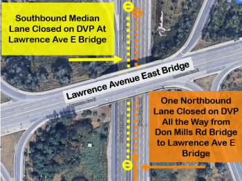 Map showing traffic impact of Stage 1 DVP bridge rehabilitation at Lawrence Avenue East Bridge. One lane of northbound traffic will be fully closed from Don Mills Road Bridge to Lawrence Avenue East Bridge, and the southbound median lane will be closed at Lawrence Avenue East Bridge.